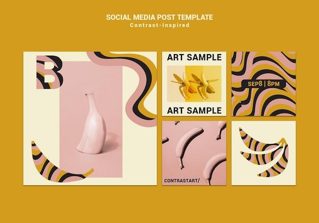 Inspirowane kontrastem posty w mediach społecznościowych z wystawy sztuki