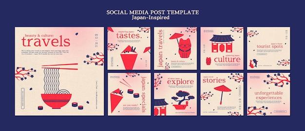 Inspirowany japonią szablon projektu postów w mediach społecznościowych
