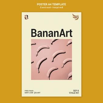 Inspirowany kontrastem szablon wydruku wystawy sztuki