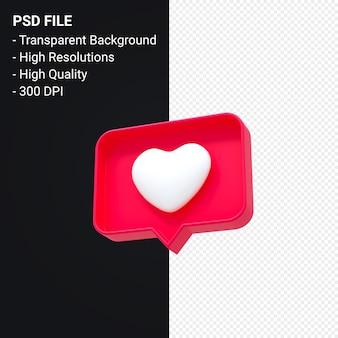 Instagram jak ikona 3d lub facebook miłość powiadomienia emoji renderowania 3d na białym tle