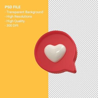 Instagram Jak Ikona 3d Lub Facebook Miłość Powiadomienia Emoji Renderowania 3d Na Białym Tle Premium Psd