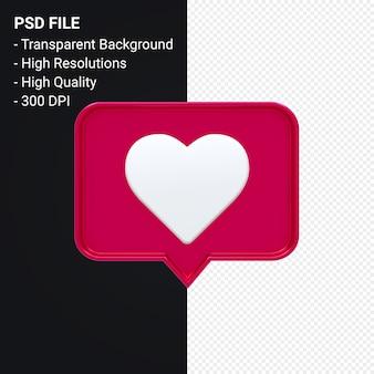 Instagram jak ikona 3d lub powiadomienia emoji na facebooku o miłości renderowania 3d izolowane