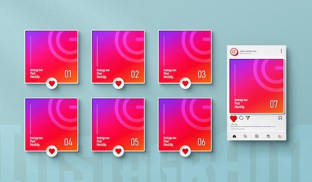 Instagram makieta postów w mediach społecznościowych 3d renderowany interfejs izolowany