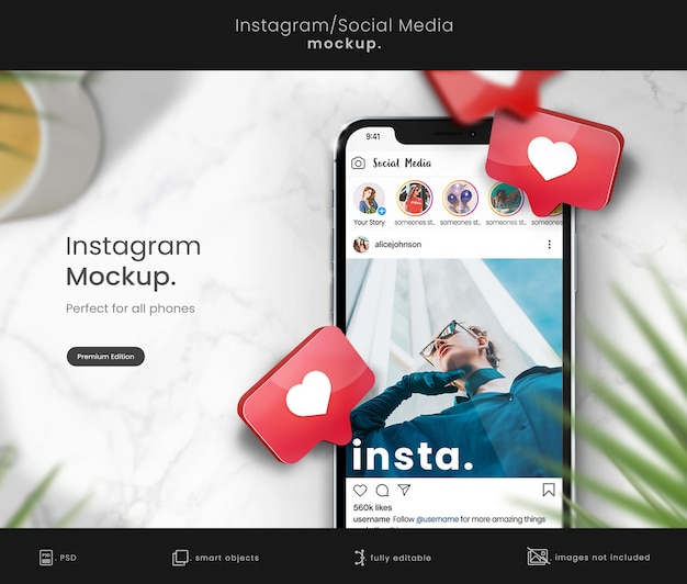 Instagram mockup na makiecie telefonu z sercami 3d