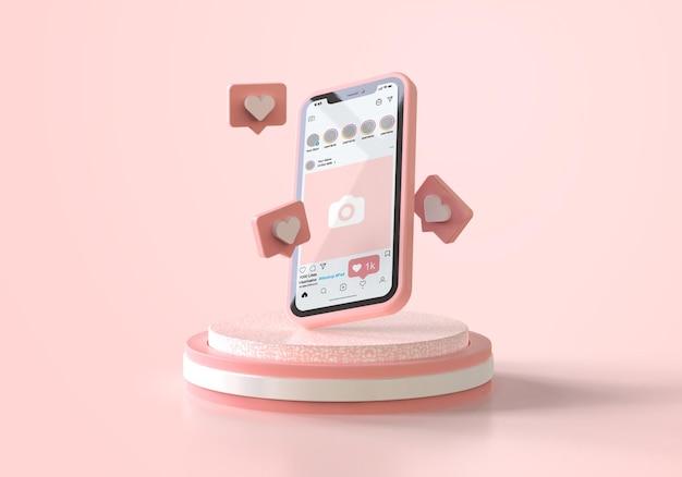 Instagram na różowej makiecie telefonu komórkowego
