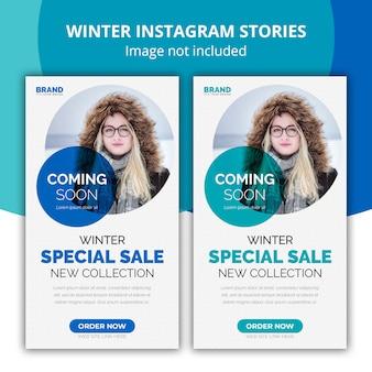 Instagram opowiadania zimowy baner internetowy sprzedaż