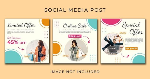 Instagram post sprzedaż online szablon ulotki zestaw psd