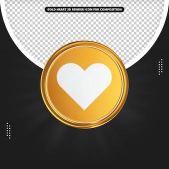 Instagram Serce Złota 3d Ikona Przedniego Renderowania Premium Psd