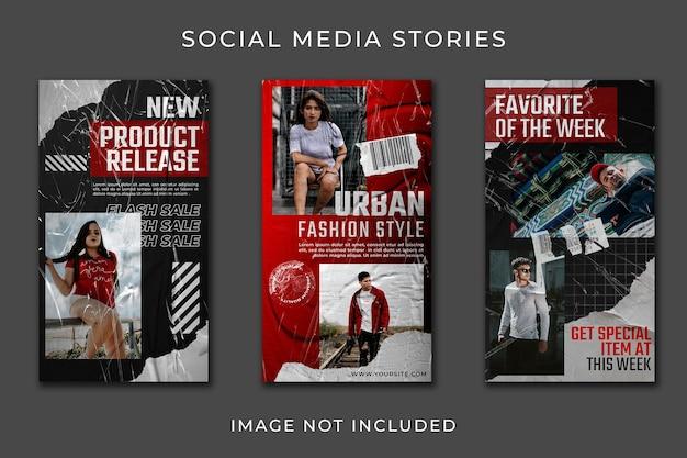 Instagram story pionowy baner zestaw kolekcji streetwear