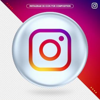 Instagram white ellipse 3d