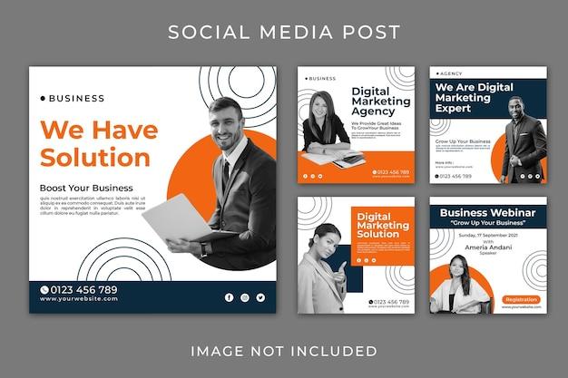 Intagram post agencja biznesowa zestaw szablonu