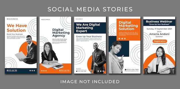 Intagram story pionowy baner zestaw agencji biznesowych