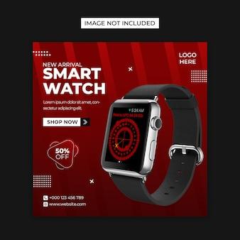 Inteligentny zegarek w mediach społecznościowych i szablon postu na instagramie
