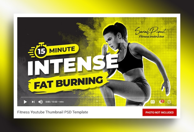 Intensywne ćwiczenia fitness miniatura kanału youtube i baner internetowy