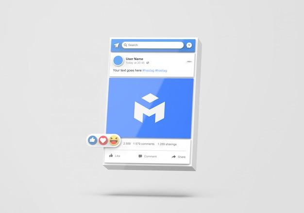 Interfejs 3d makiety facebooka w mediach społecznościowych