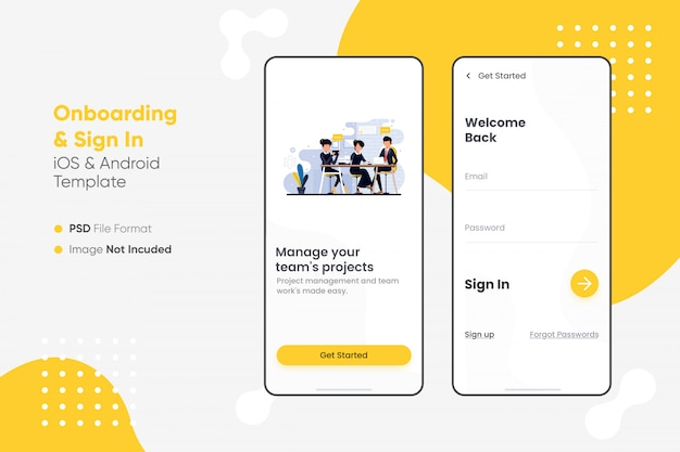 Interfejs aplikacji do wprowadzania i logowania