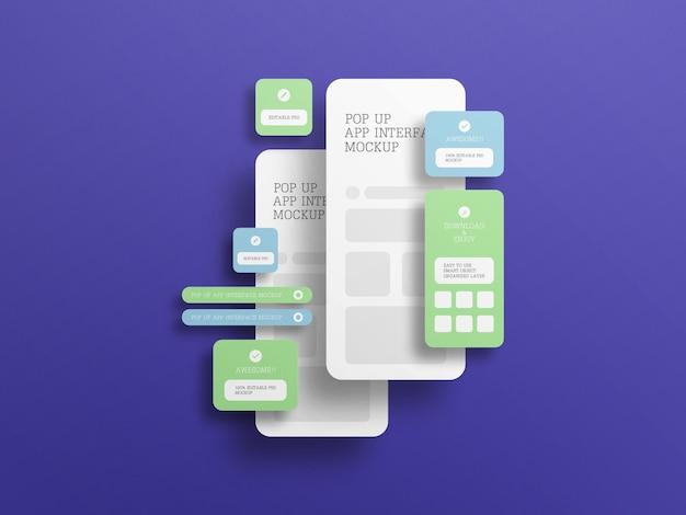 Interfejs aplikacji z makietą wyskakującego ekranu