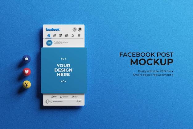 Interfejs facebook 3d z emoji do makiety postów w mediach społecznościowych