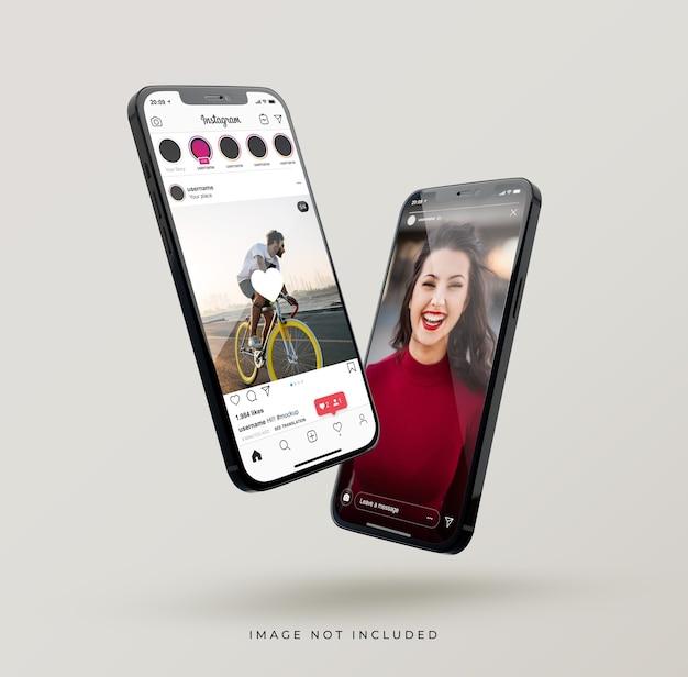 Interfejs instagram na pływającej nowej makiecie telefonu