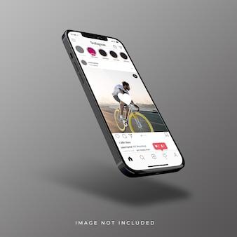Interfejs instagram na realistycznym renderowaniu 3d smartfona
