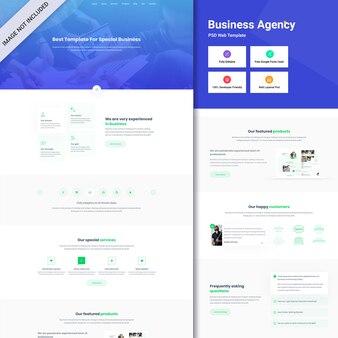 Interfejs internetowy agencji biznesowej psd. projektowanie stron internetowych