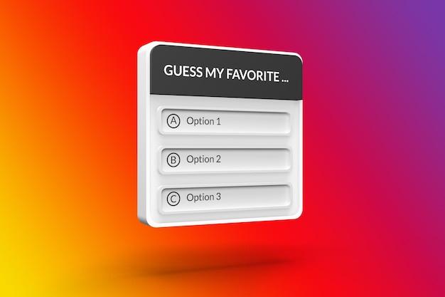 Interfejs opcji makiety w mediach społecznościowych na instagramie renderowania 3d