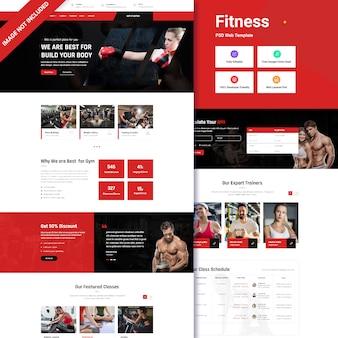 Interfejs strony docelowej fitness