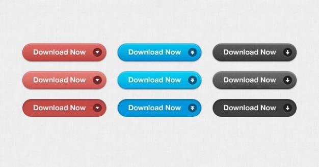 Internet download przycisków w trzech kolorach