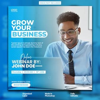 Internetowe seminarium biznesowe poświęcone projektowi postu dotyczącego rozwoju firmy