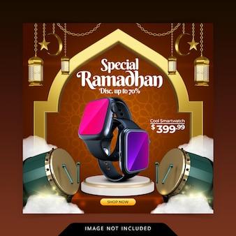 Islamska dekoracja dla szablonu banera postu na instagramie ramadan kareem