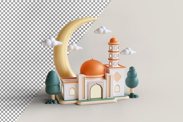 Islamska dekoracja wystawy budynek meczetu ze złotą kopułą i półksiężycem