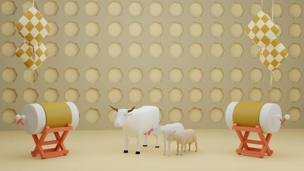 Islamska-kompozycja-dekoracyjna-wystawowa-z-tradycyjnymi-bębnowymi-pudełkami-upominkami-i-arabskimi-latarnikami 3d