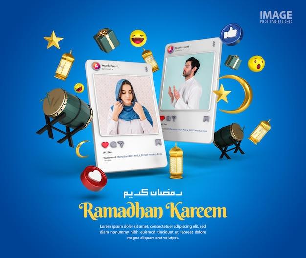 Islamska Ramadan Kareem Instagram Social Media Makieta Postu Premium Psd