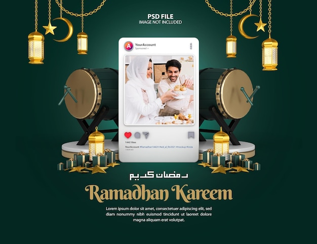Islamska ramadan kareem instagram social media makieta postu