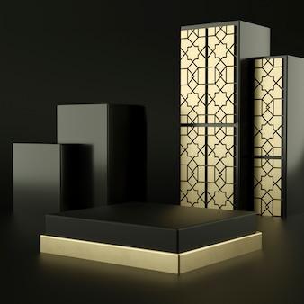 Islamski abstrakcyjny czarny kolor geometryczny kształt, nowoczesny minimalistyczny wyświetlacz lub prezentacja na podium, renderowania 3d