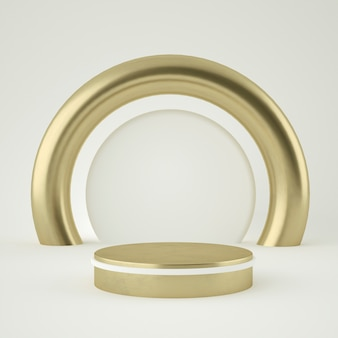 Islamski cokół z czystego białego złota, złota rama, tablica pamiątkowa, abstrakcyjna minimalna koncepcja, pusta przestrzeń, czysty design, luksus. renderowania 3d