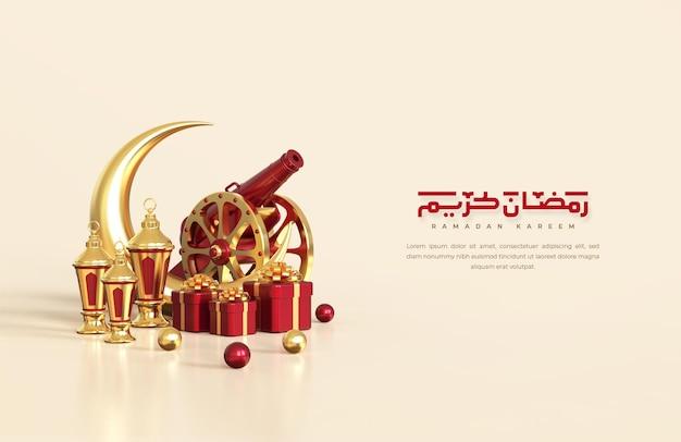 Islamskie pozdrowienia z ramadanu, kompozycja z arabską latarnią 3d, półksiężycem, tradycyjną armatą i pudełkiem prezentowym
