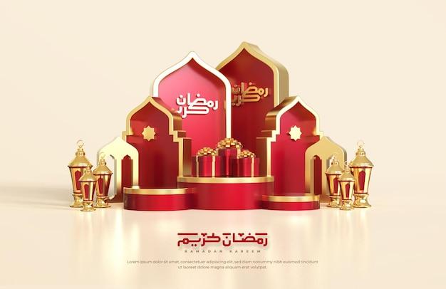 Islamskie pozdrowienia z ramadanu, kompozycja z arabską latarnią 3d, pudełkiem prezentowym i okrągłą sceną na podium z ornamentem meczetu