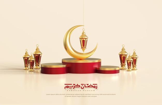 Islamskie pozdrowienia z ramadanu, kompozycja z półksiężycem 3d i arabskimi latarniami