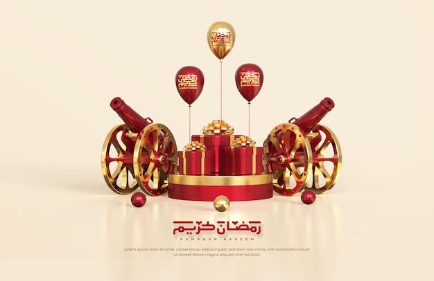 Islamskie pozdrowienia z ramadanu, kompozycja z tradycyjną armatą 3d i pudełka na prezenty na okrągłym podium