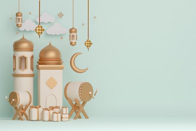 Islamskie tło dekoracji wyświetlacza z półksiężycem meczetu z bębnem łóżkowym i pudełkiem prezentowym
