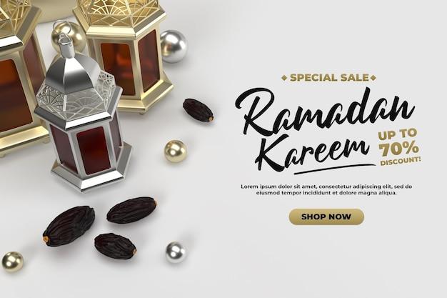 Islamskie uroczystości ramadan pozdrowienia 3d szablon renderowania złota