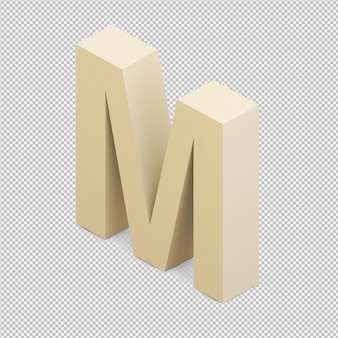 Isometric alphabet 3d isolated render