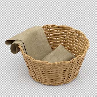 Isometric picnic basket isolated 3d render