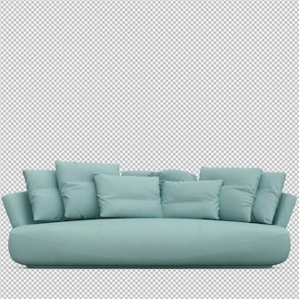 Isometric sofa 3d izolowane renderowania
