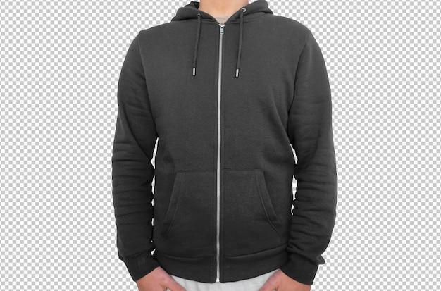 Izolowana czarna bluza z kapturem i zamkiem błyskawicznym
