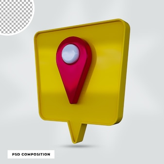 Izolowana ikona pinezki renderowania 3d