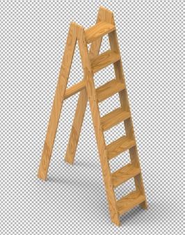 Izolowane 3d drewniane schody render na przezroczystym