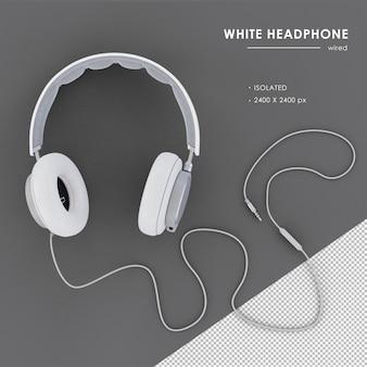 Izolowane przewodowe słuchawki białe w renderowaniu 3d
