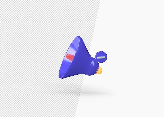 Izolowane renderowania 3d minus ikona głośności